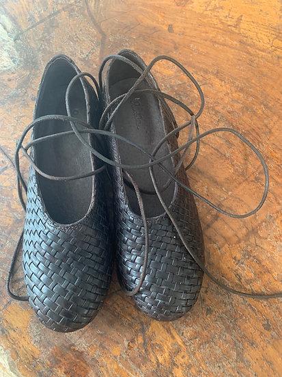 Ewa leather basket weave ballet shoes 38