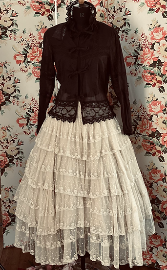 Lace multi tiered skirt with back tyes