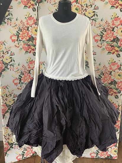 22129 black voile multi layered paper skirt