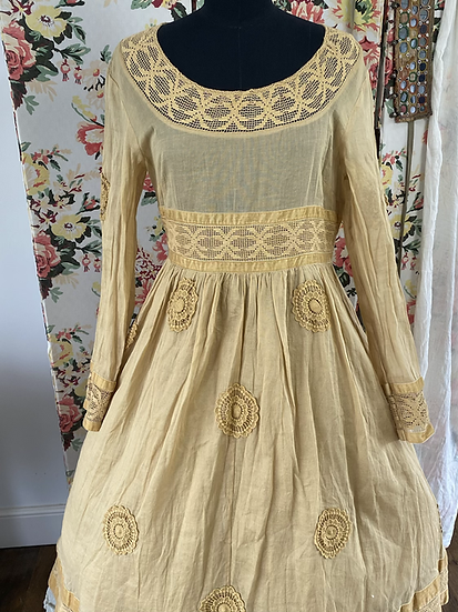 55681 Cotton Lace and Patch Long Dress in Wheat