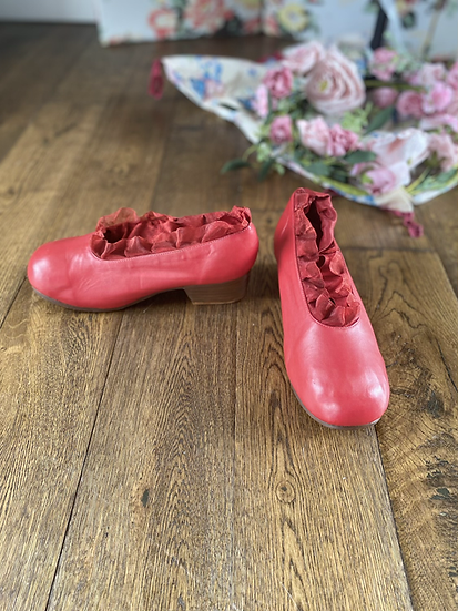 Vintage Sample Red Leather and Lace Shoe