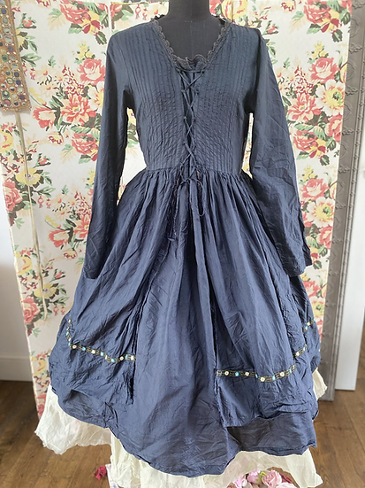 55559 Moregana Black Tissue Silk Front Lace Dress