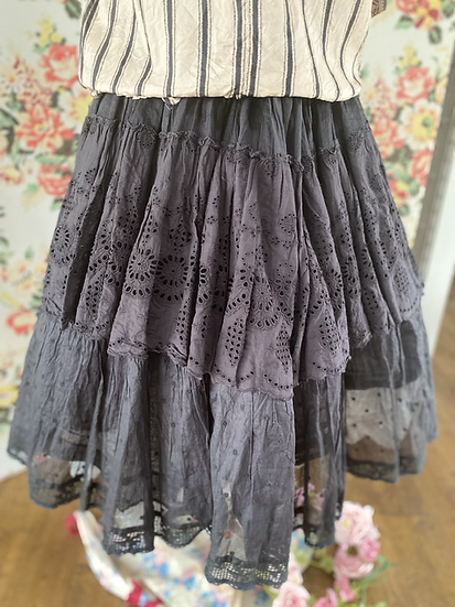 22917 Multi Layered Broidery Anglais and Organdy Lace Skirt