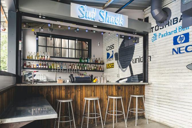 The back patio bar, aka the Sud Shack