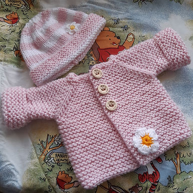 Baby cardigan and hat