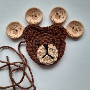 Brown Bear Applique and buttons