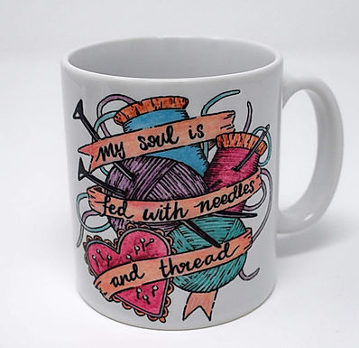 My Soul is Fed with needles and thread mug