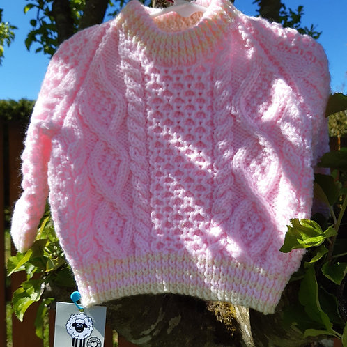 Pink Aran Sweater 1 - 2 years