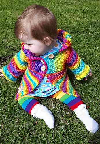 Rainbow Hoodie Knitting Kit size 0 - 6 months