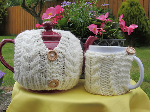 Aran Tea Cosy and Mug Hug Digital Download pattern