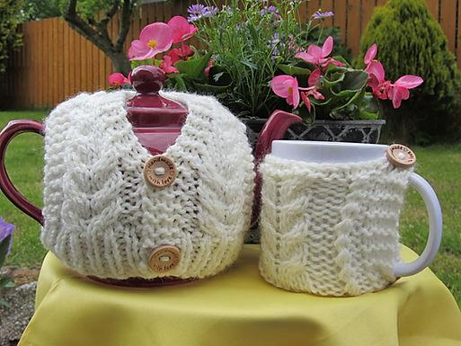 Aran Tea Cosy and Mug Hug Digital Download pattern