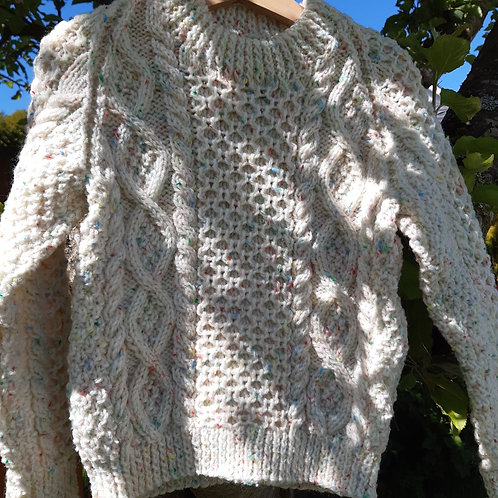 Hand Knit Aran Sweater 4 - 5 years