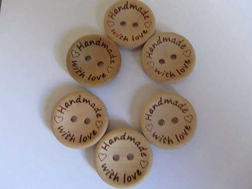 "10 x 20mm ""Handmade with Love"" wooden buttons"