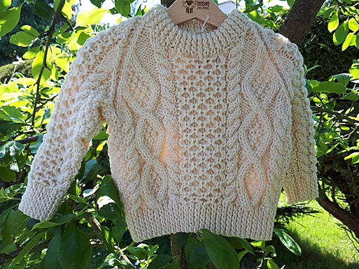 Hand Knit Aran Sweater 4 - 5 years