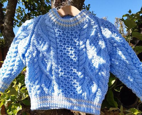 Pale Blue Aran Sweater 1 -2 years