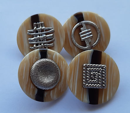 Unique brown and silver buttons