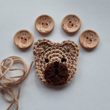 Light Brown Teddy Applique and buttons