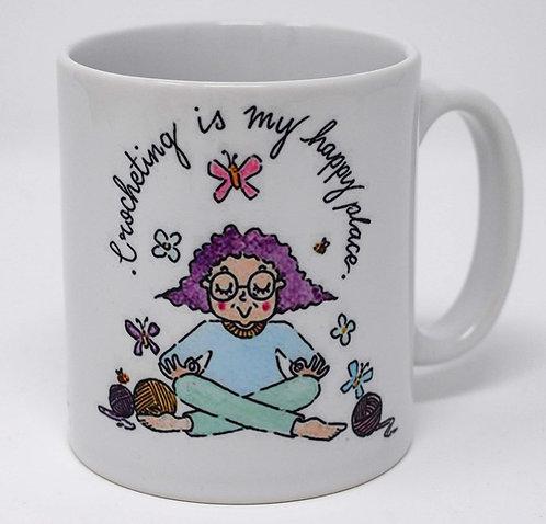 Crocheting is my happy place mug