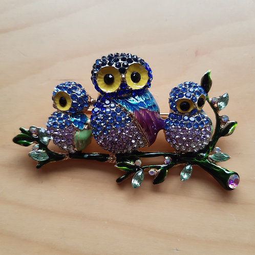 Owl Family Brooch