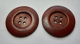 2 x 6cm Dark Wooden Buttons