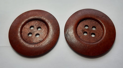 2 x 6cm Dark Wooden Buttons