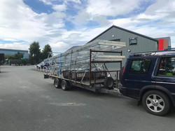 STF galvanised chassis loaded on trailer