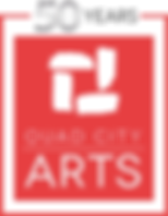 Quad City Arts - 50 Logo silver RED soli
