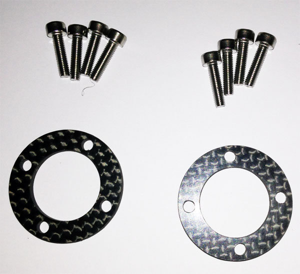 carbon washers for fastening plastic rims 4 holes on hub EVO or NF.