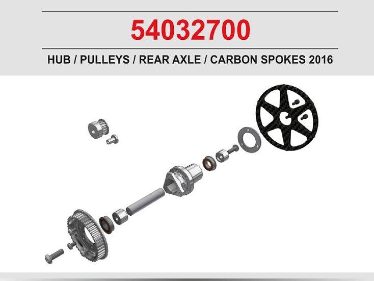 Rear axle kit (hub, pulleys, carbon rim) Jabber 2016