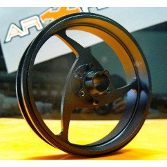 Motard front three spoke-wheel. Made in aluminum