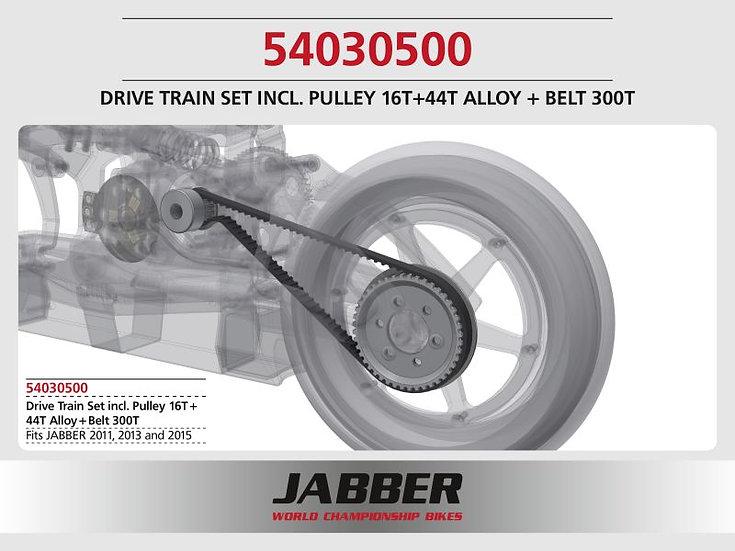 LIGHTSCALE set pulley 16T + 44T S3M, Alu Jabber + belt 300