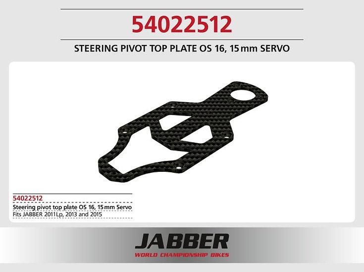Mounting plate Steering head top CFK Jabber, 16mm offset, 15mm Servo CFK Jabber