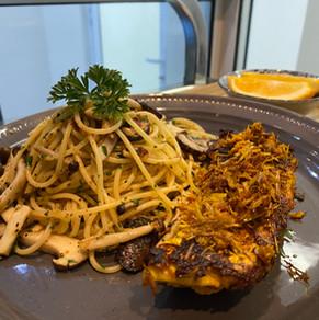 Mushroom Aglio Olio with Tumeric Fish