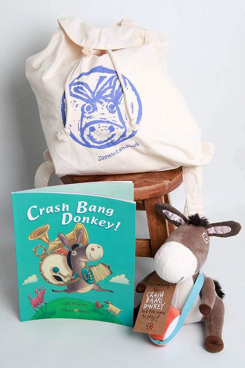Crash Bang Donkey toy, bag and book