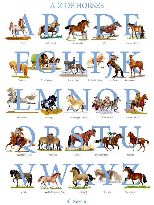 """A to Z of Horses Poster 20""""x 16"""""""