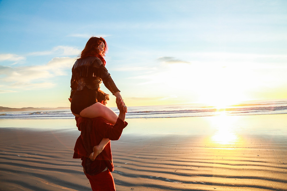 Playful Romance at the Beach