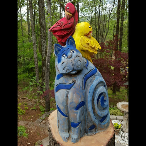 Colorful Cat and Bird Sculpture