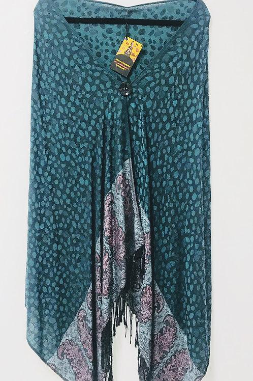 Teal Silk/Pashmina Upcycled Wrap