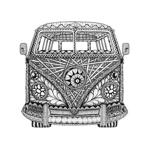 "Zentangle-Inspired Art Print - ""Tangled Van"""