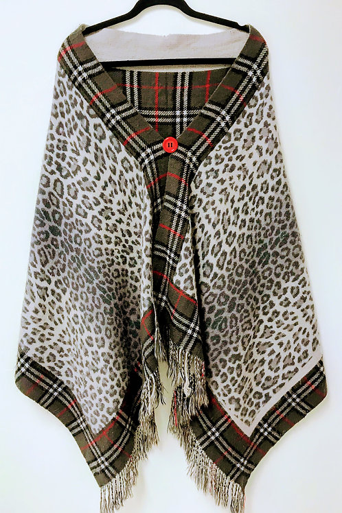 Leopard & Plaid Upcycled Wrap