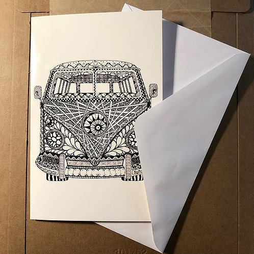 "Zentangle-Inspired Art Greeting Cards - ""Tangled Van"""