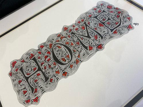 "Zentangle-Inspired Art Print - ""Home"" (Red)"