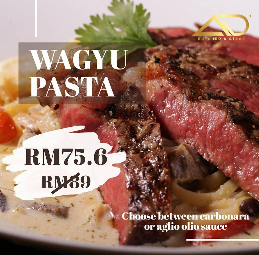 Wagyu Carbonara Pasta at AD Butcher & Steak