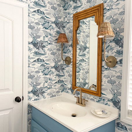 Bathroom Transformation with Wallpaper and Paint