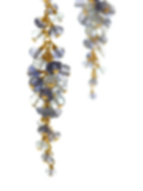 Gemstone earrings, aquamarine,iolite,luxury, British, jewellery, SarahD Smith Fine Jewellery