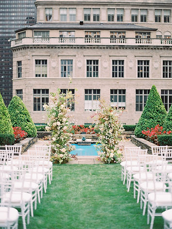 620 loft and garden, NewYorkCityWeddingPlanner, blooming wed, lisa li events, outdoor wedding venue, outdoor wedding ceremony, ceremony arch, white wedding chair, 5th avenue, nyc chinese wedding planner, half shape wedding arch, wedding venue in nyc, long island city wedding venue, romantic wedding ceremomy design, pink flowers, wedding fountain