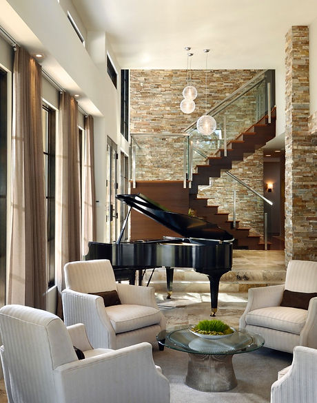 Stone-Wall-Decor-and-Chic-Chairs-Using-Black-Grand-Piano-for-Traditional-Living-Room-Plan-Ideas.jpg