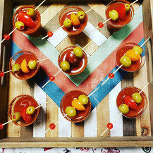 Mini Bloody Mary Shooters made with Rhed