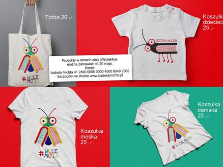 Kup koszulkę i torbę #WoleMole i wesprzyj zakup książek potrzebującej placówce!