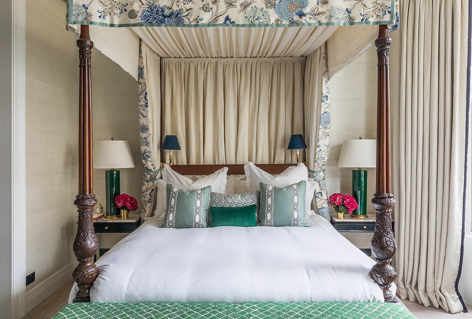 Bed Canopy and Curtains - Pat Giddens Ltd Interior Design - Barlow and Barlow Photographer - J Bond Photography